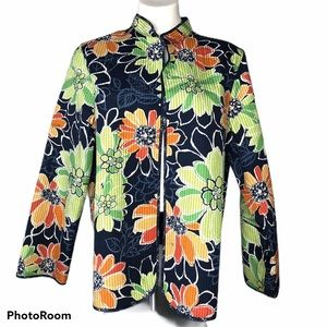Alfred Dunner Floral Quilted Open Front Jacket